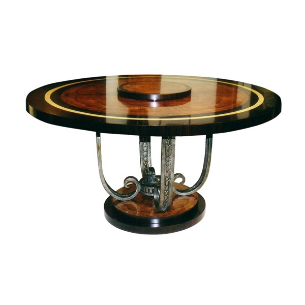 Fftasm 1a Dpg Wrought Iron Dining Table Round Four Branches In S Shape Wrought Iron Brand Console Table Dining Table Grille Light Miror Pedestal Table Radiator Patrick Gaguech The Collections